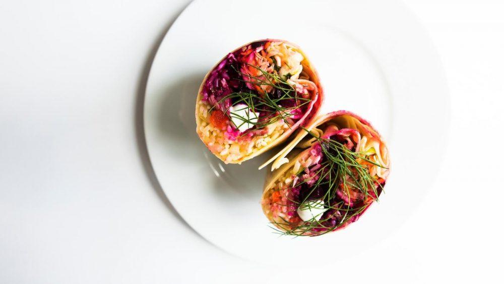 Borscht Burrito on white plate