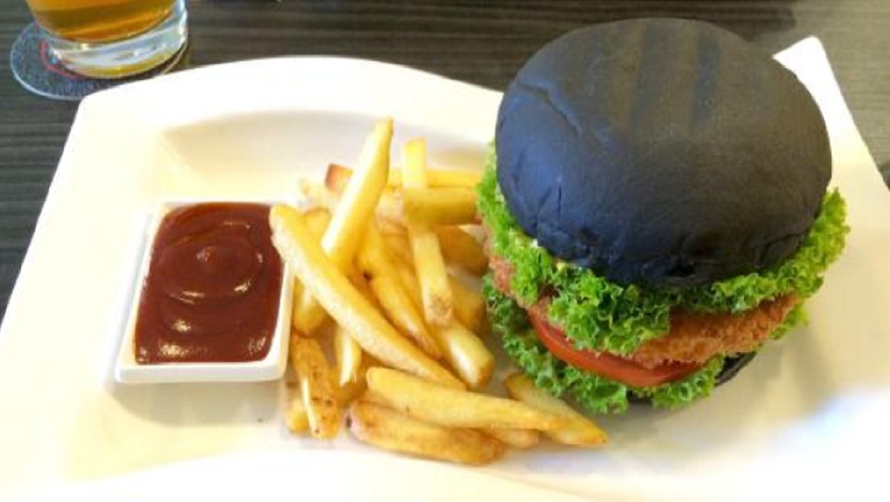 black bun crab burger