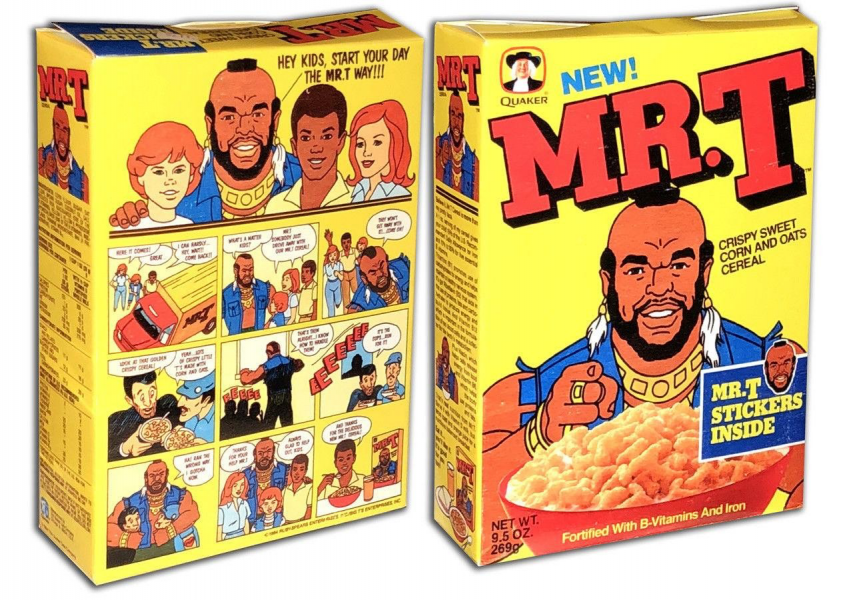 Mr T Cereal box front and back