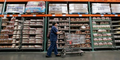 It's impossible to not think of hot dog and rotisserie chicken when you're on a Costco aisle