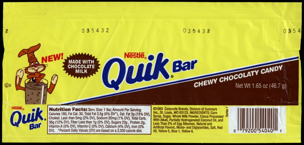 Nestle Quik Bar candy wrapper