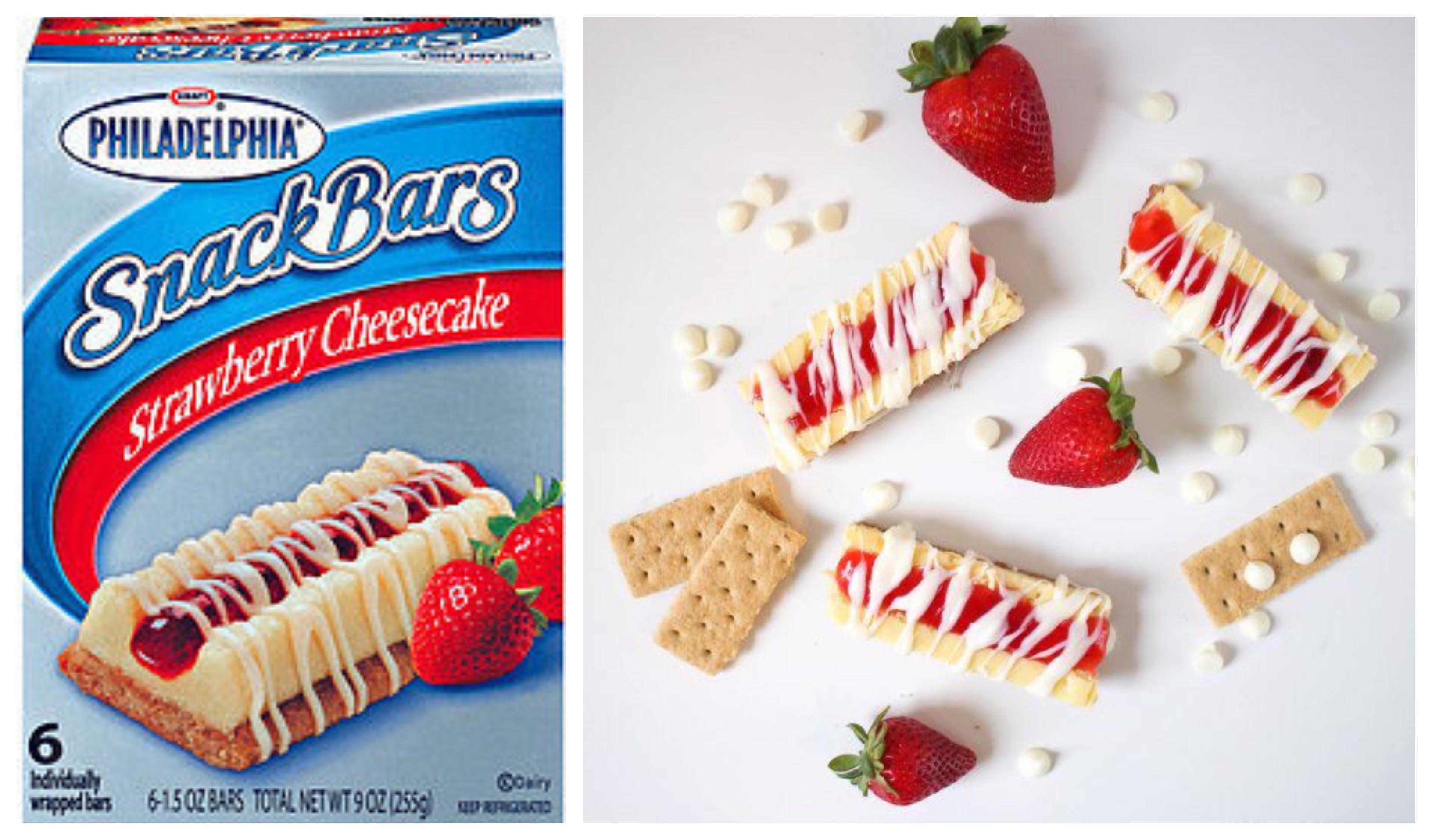 Philadelphia Cream Cheese Strawberry Cheesecake Snack bars-collage