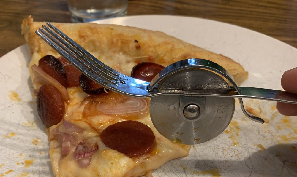 fork and pizza cutter