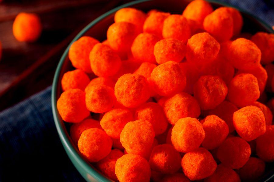 bowl of flamin' hot cheetos asteroids