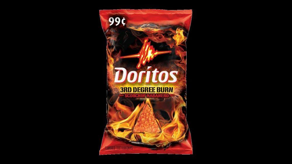 bag of 3rd degree burn scorchin habanero doritos on black background