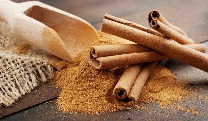 Cinnamon Sticks And Cinnamon Powder In Wooden Scoop