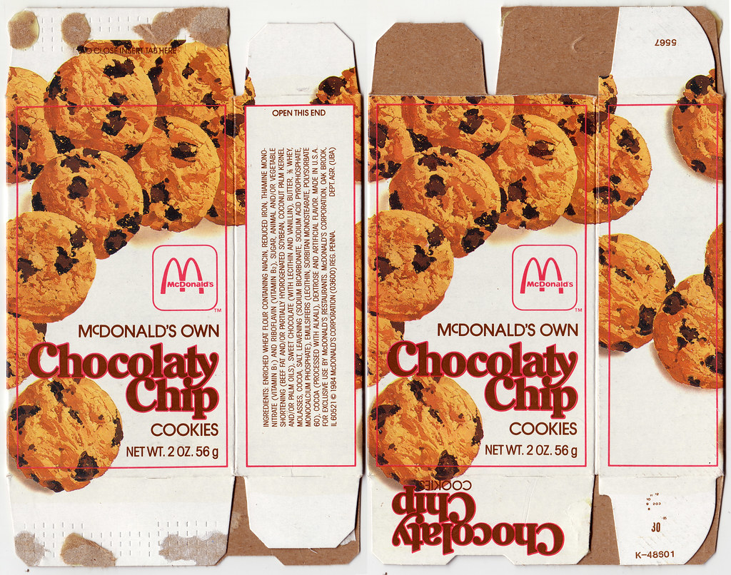Chocolatey Chip Cookie Box – McDonald's Packaging (Source – Jason Liebeg)