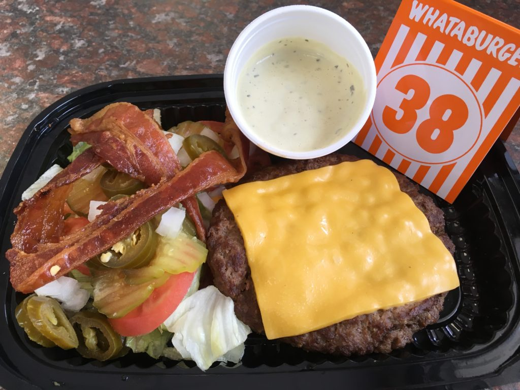 Double Meat Whataburger with Double Cheese, Bacon, and Jalapenos (no bun)