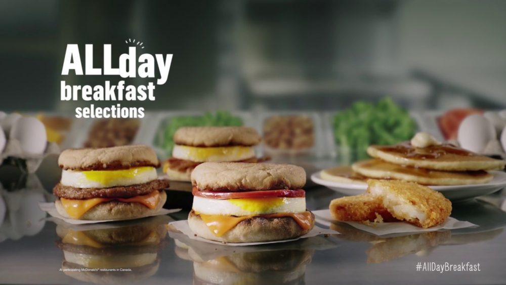 Several items available as part of McDonald's all day breakfast