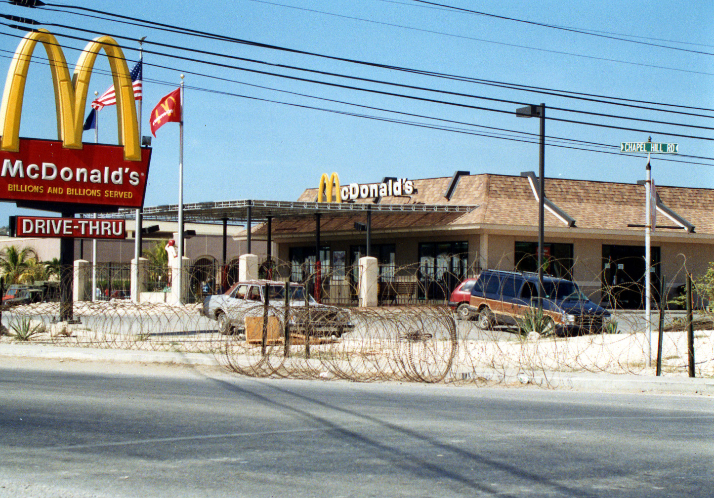 McDonald's surrounded by barbed wire