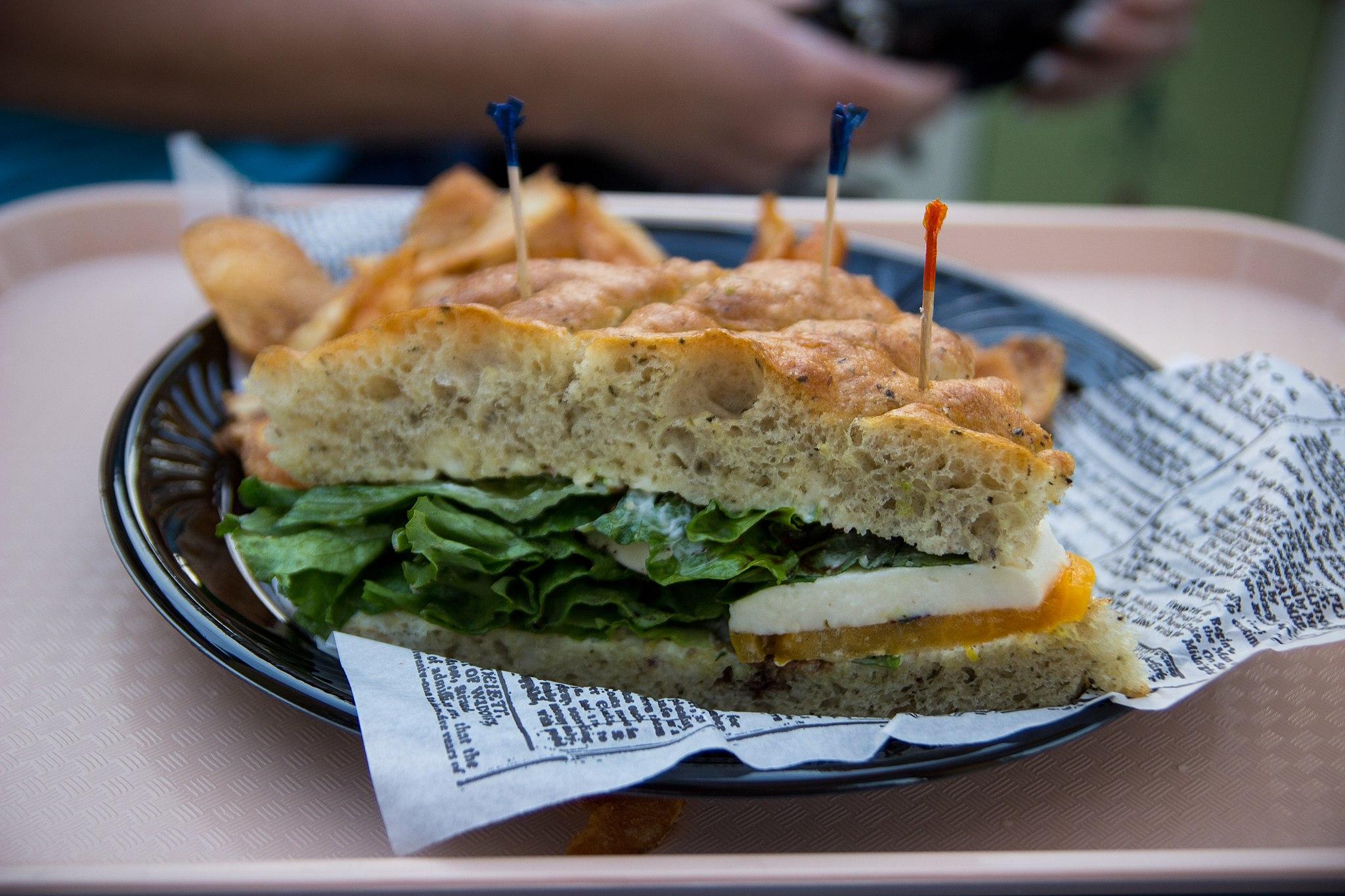 caprese on focaccia bread sandwich