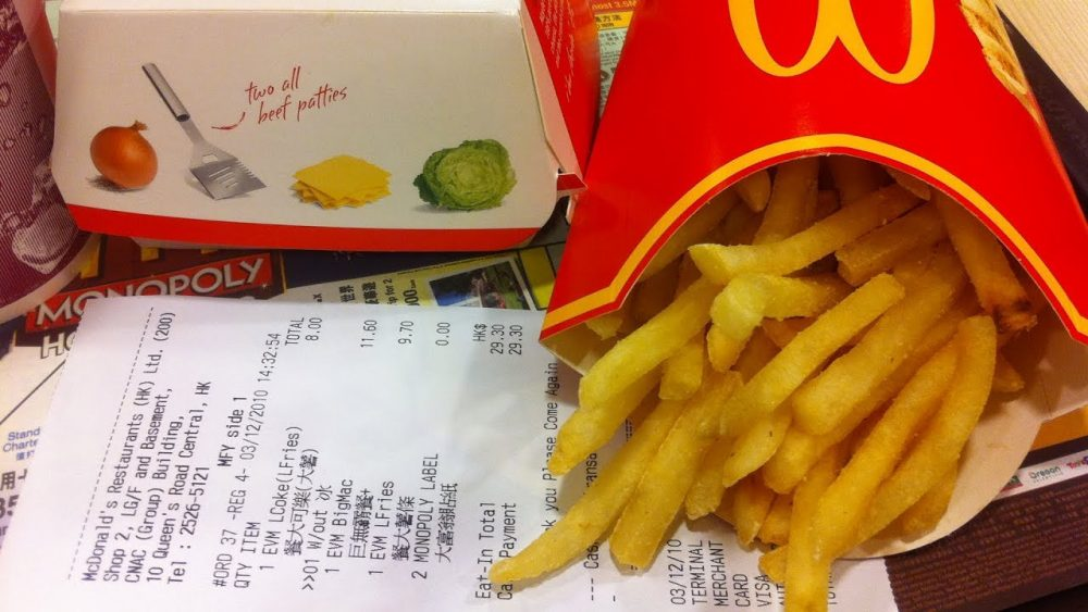 Big Mac, McDonalds French fries and receipt