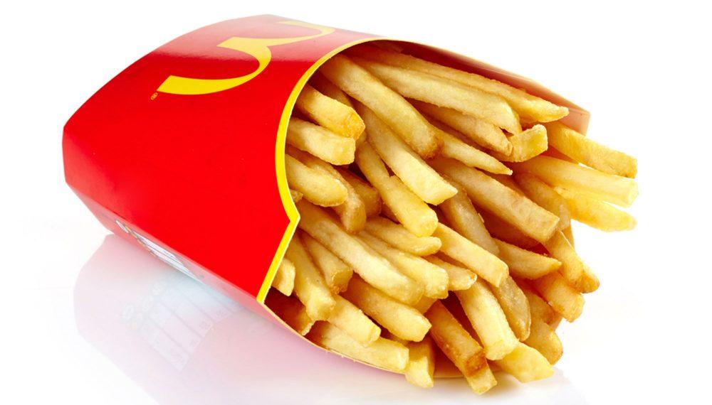McDonalds fries on white background