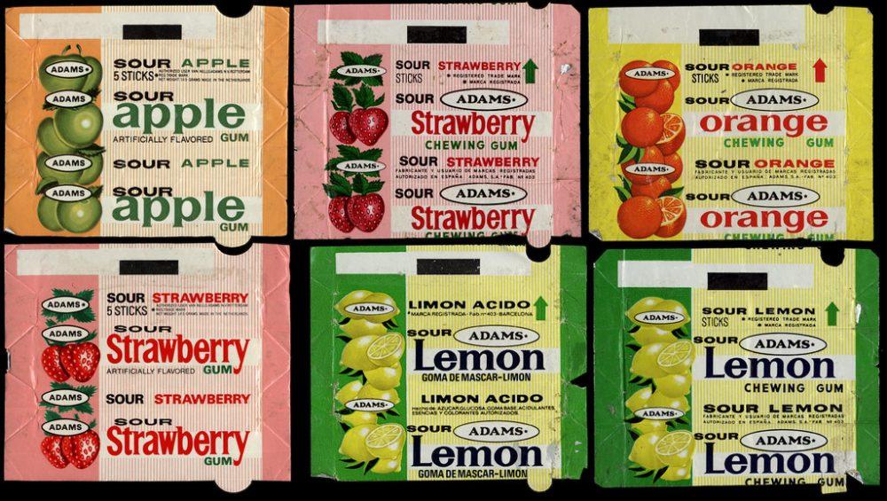 Apple, Strawberry, Orange and Lemon Adams Sour Bubble Gum Wrappers