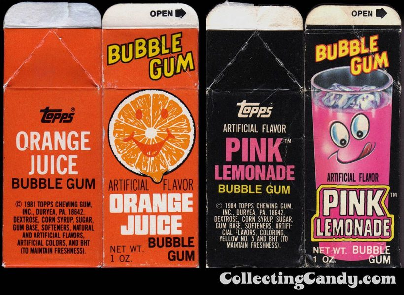 Orange and Pink Lemonade Topps Bubble Gum Cartons