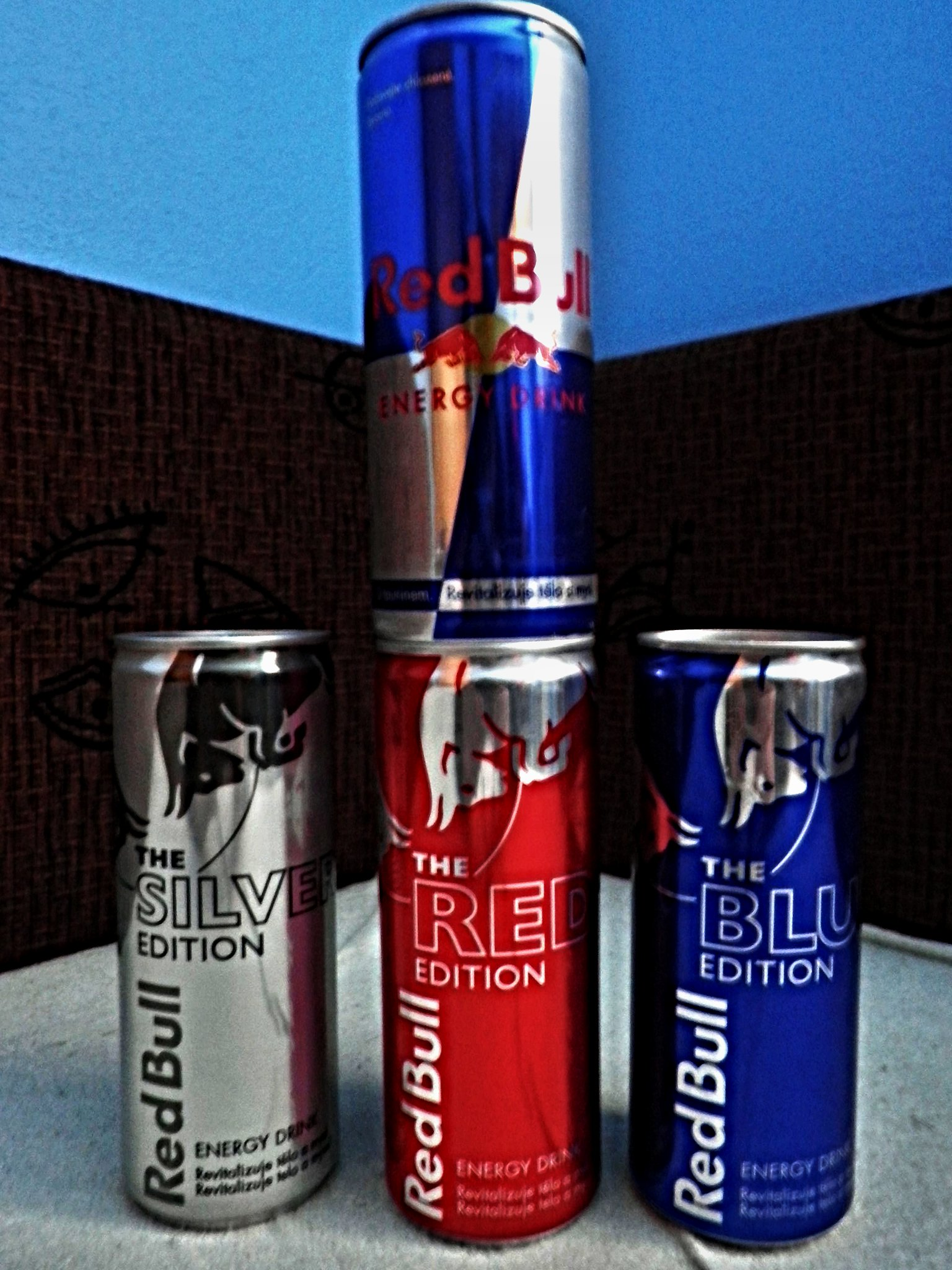 Various types of Red Bull cans