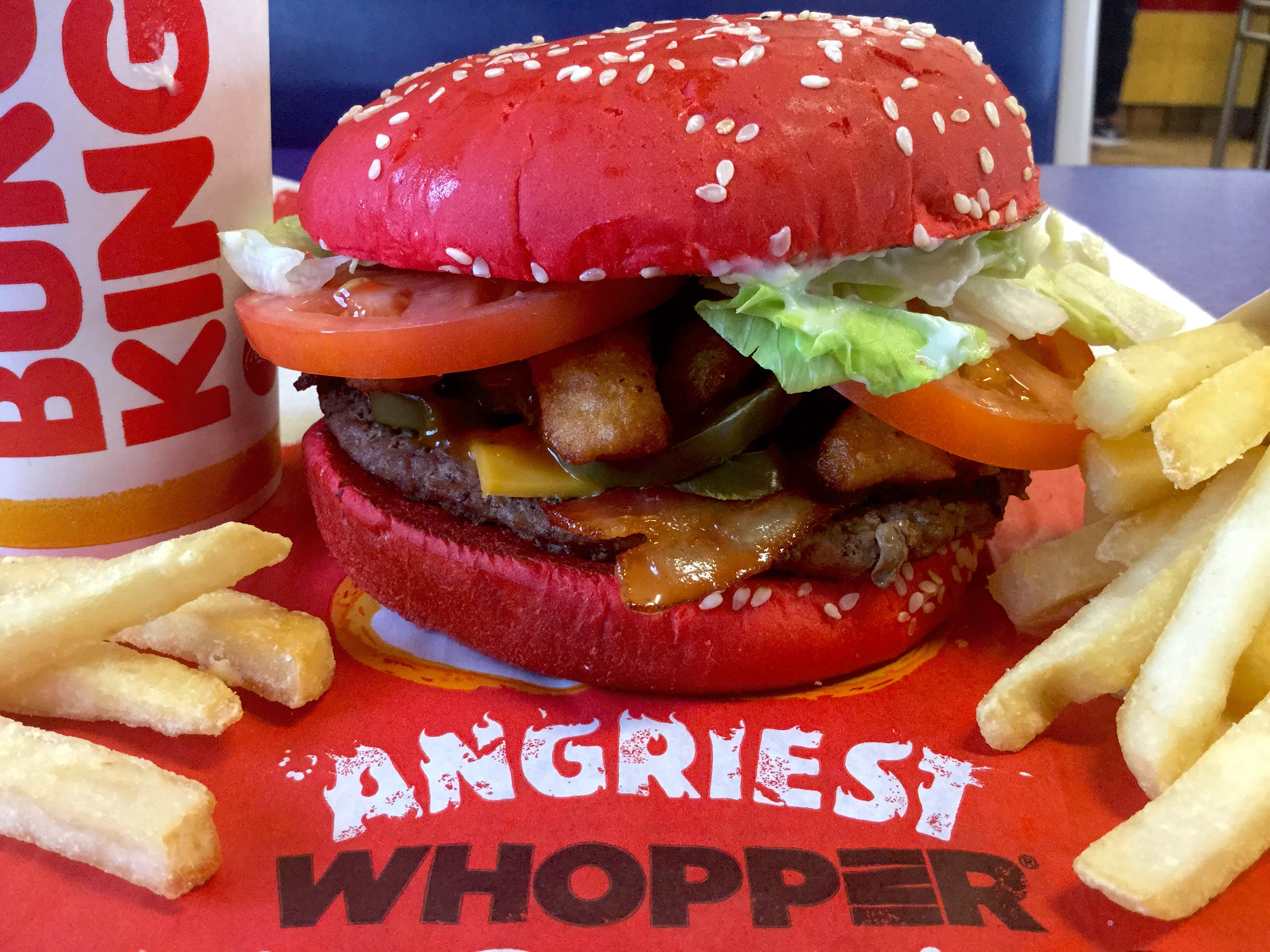 Burger King Angriest Whopper with fries