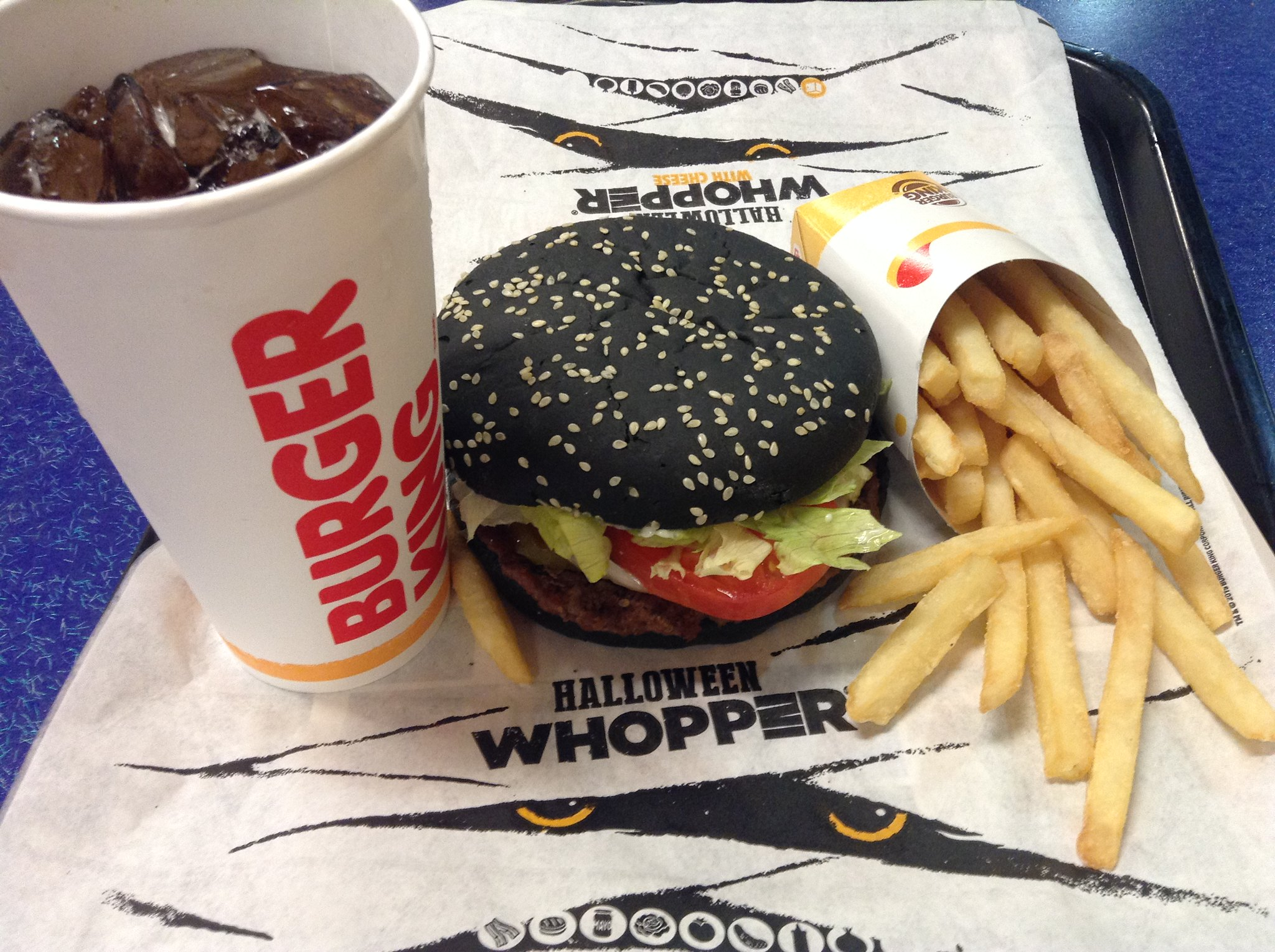 Burger King Halloween Whopper with soda and fries