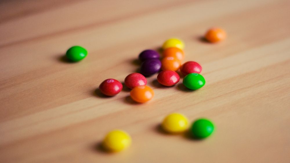 Pile of Skittles candy