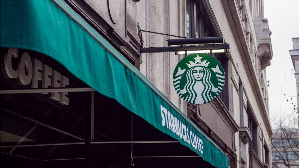Starbucks coffee shop logo on a building