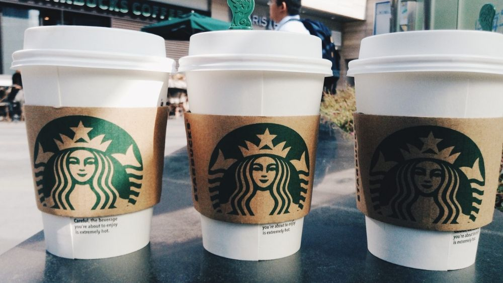 Starbucks cups lined up