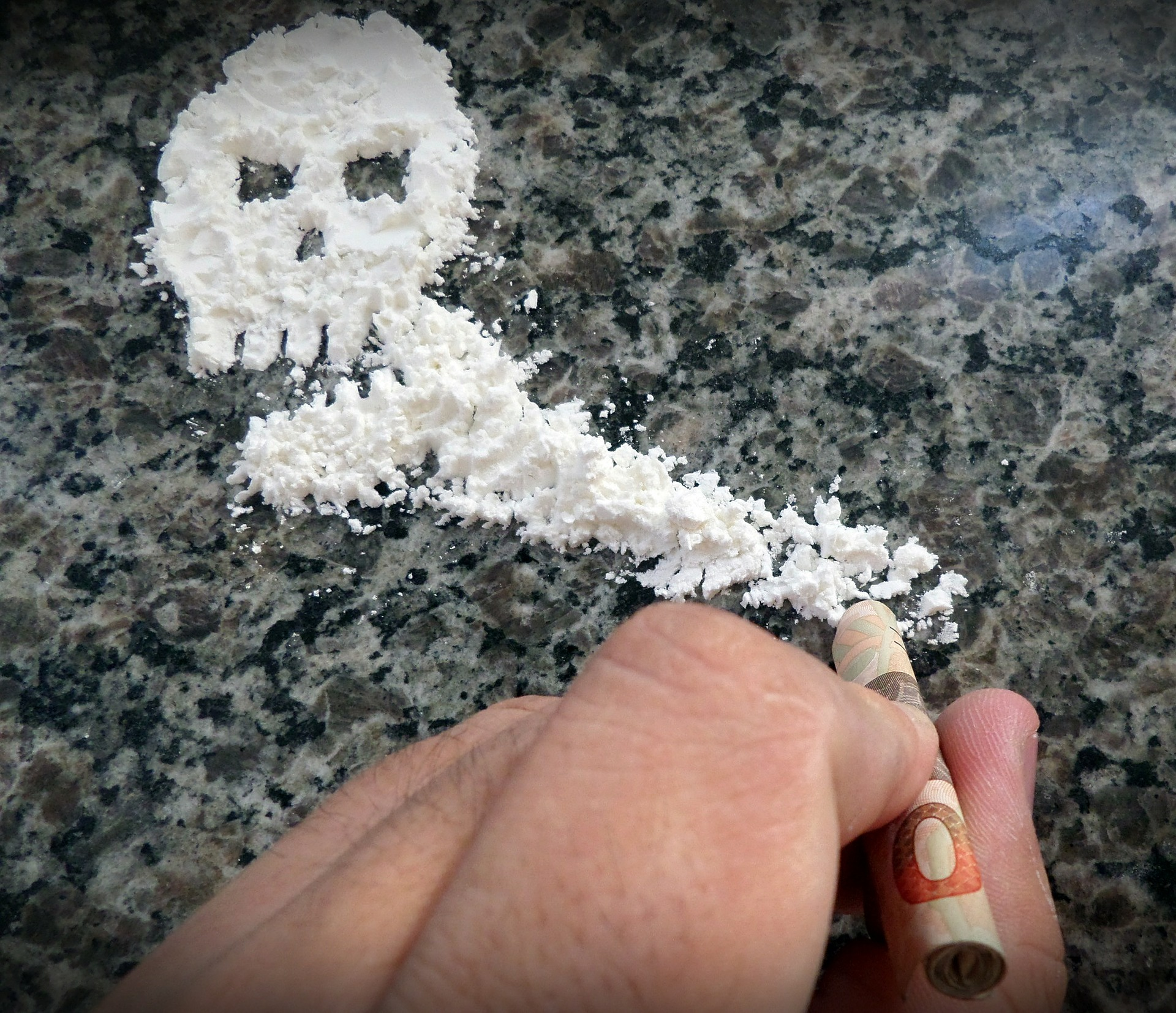 skull made with cocaine
