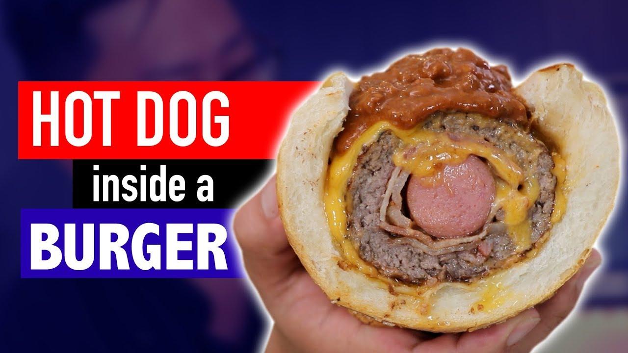 A hamburger and hotdog together.