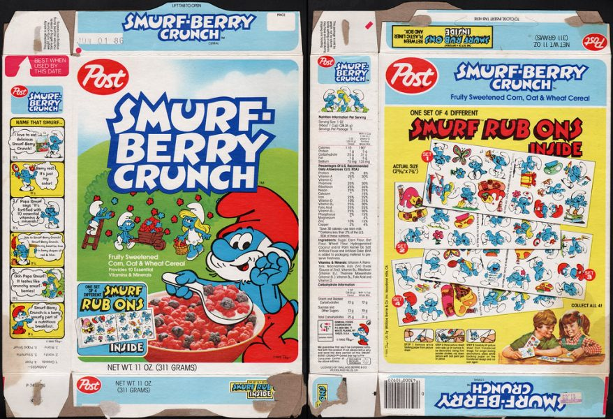 Smurf Berry Crunch cereal box back and front