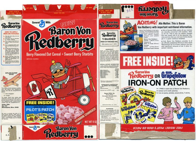 Baron von Redberry cereal box front and back