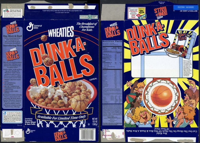 Dunk-A-Balls Cereal box front and back