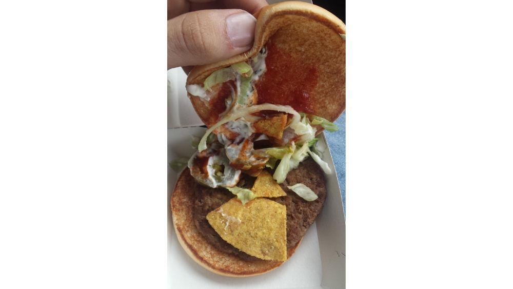 McDonald's burger with nacho chips