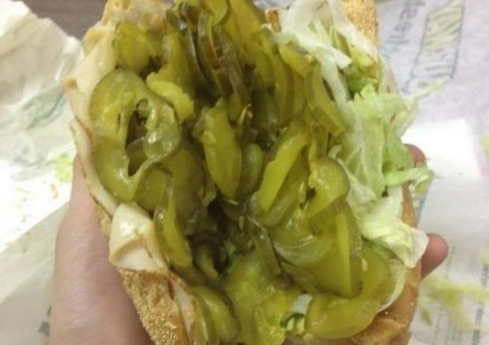Subway sandwich with extra pickles
