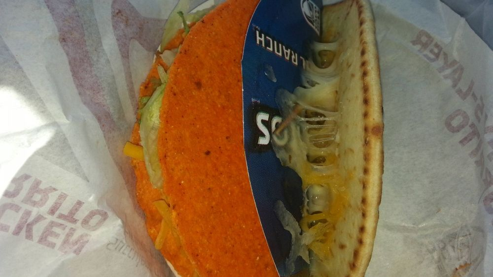 Taco Bell taco with wrapper inside