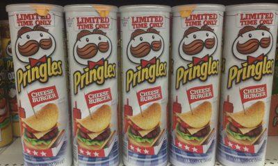 Tubes of Pringles cheeseburger