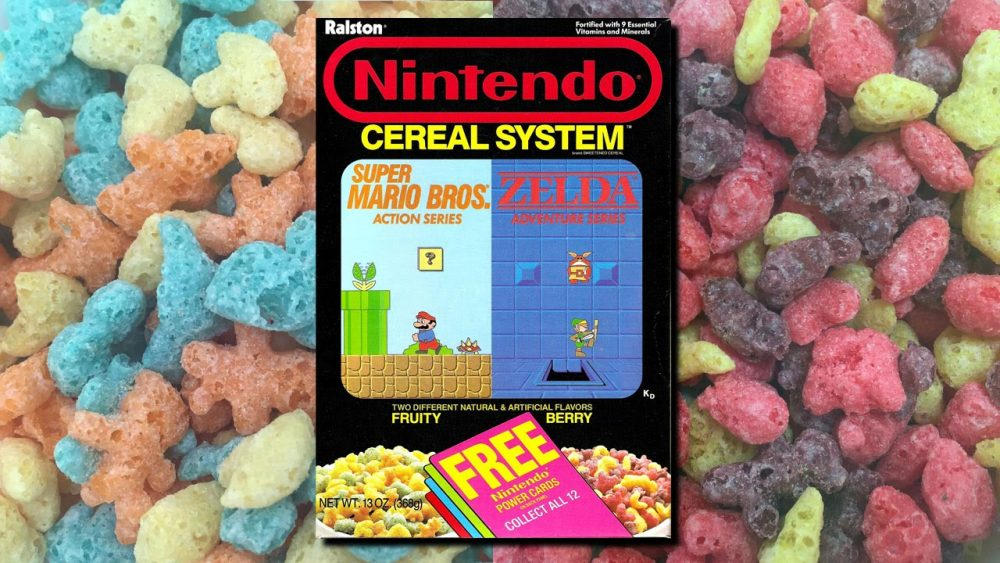 Box of Super Mario Bros Cereal and Zelda Adventures cereal on background of cereal