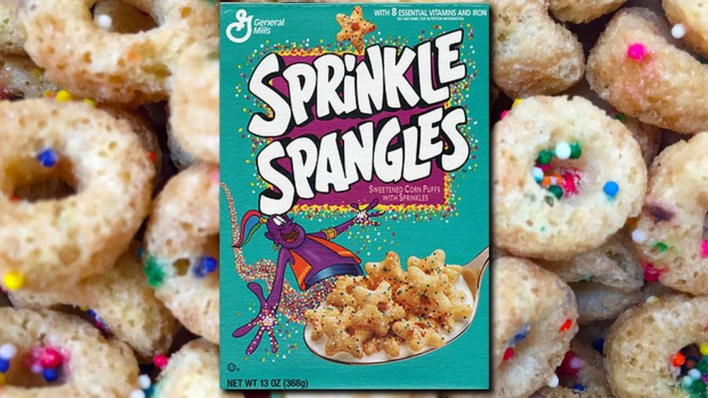 Sprinkle spangles cereal box on cereal background