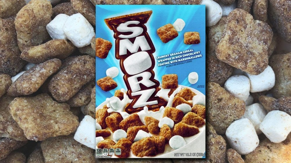Smorz box on the background of Smorz cereal