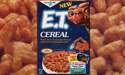 E.T. cereal box on background of ET cereal