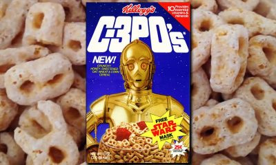 C3PO's Cereal box on background of cereal