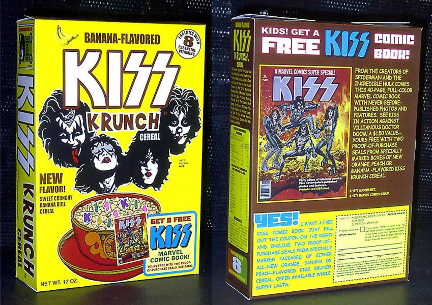 Kiss Krunch Banana Flavoured Cereal Box front and back