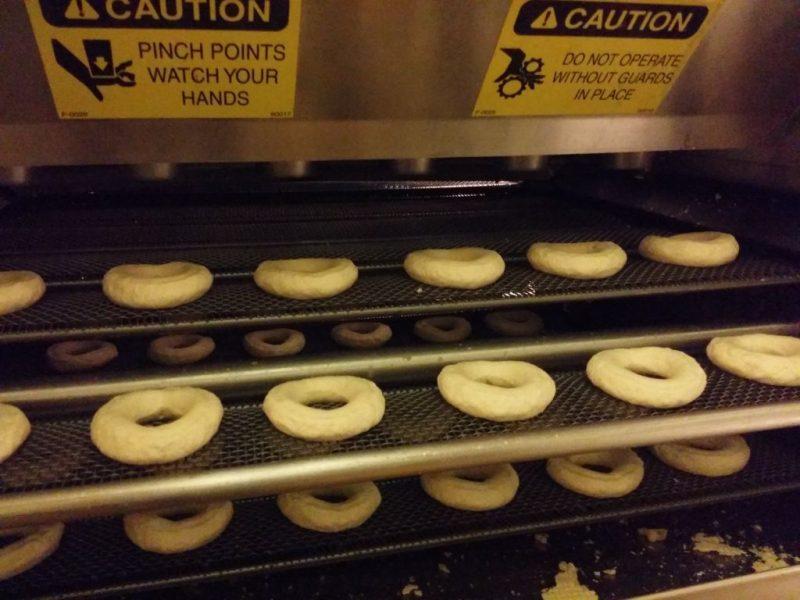 Doughnuts on conveyer belt