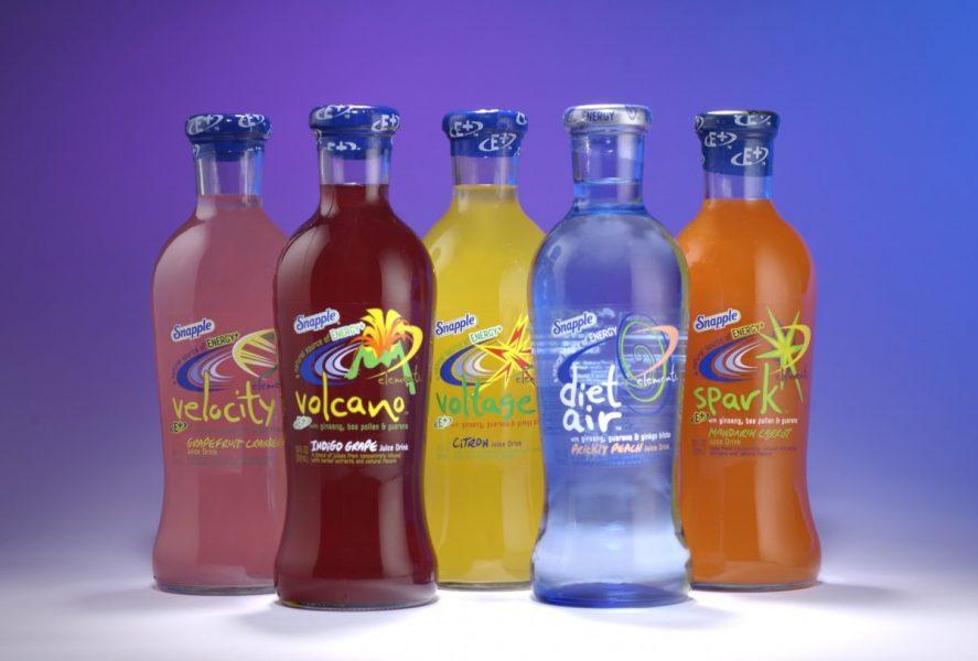 Snapple Element Drinks in glass bottles five flavors