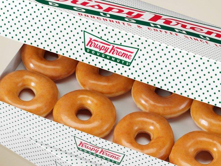 Box of a dozen Krispy Kreme doughnuts