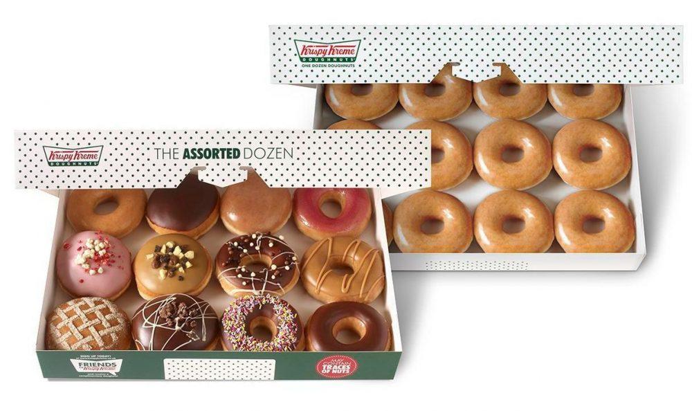 Krispy Kreme two boxes of a dozen doughnuts