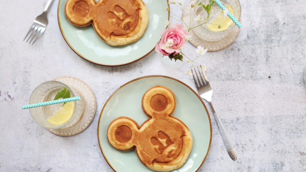 Mickey mouse face pancakes on a plate