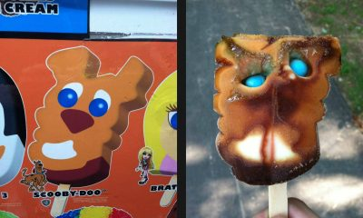 ugly scooby-doo popsicle character with box