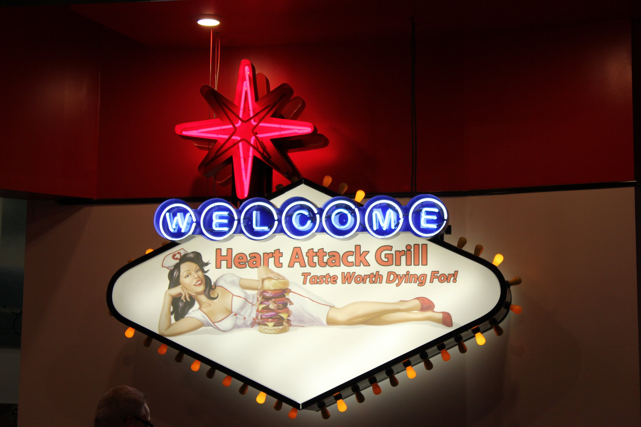 front signage at Heart Attack Grill