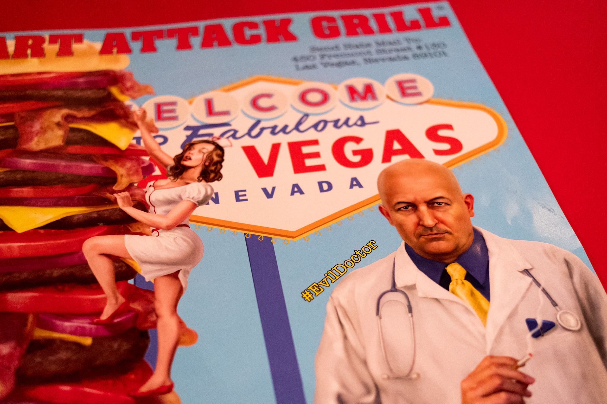 nurse climbing a burger with evil doctor on a menu card