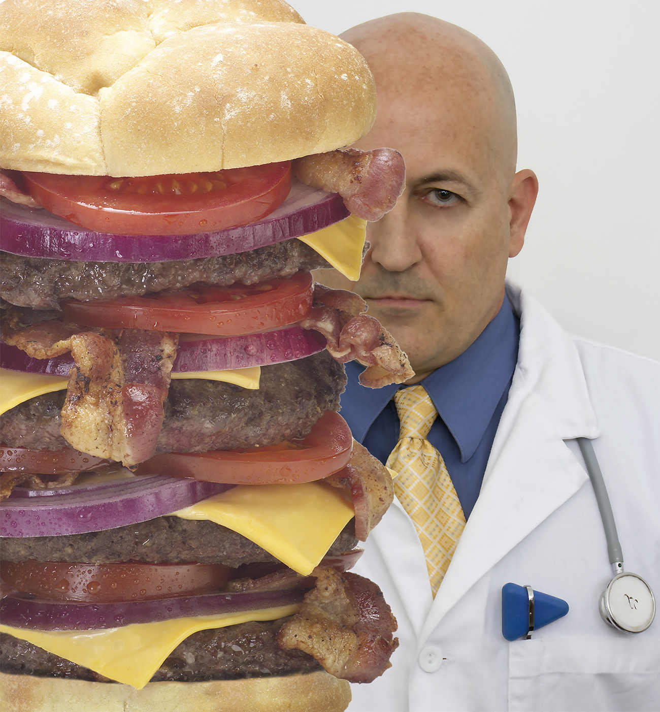 heart attack grill owner next to giant burger