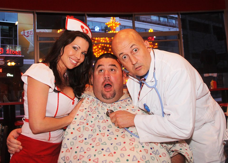 doctor, nurse and patient at heart attack grill